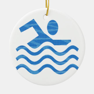 Ornement Rond En Céramique Succès de natation - esprit frais de périodes