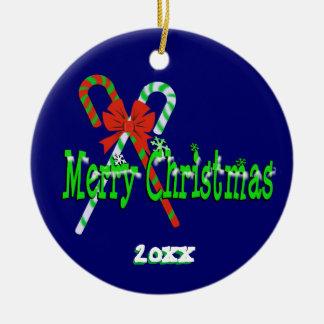 Ornement Rond En Céramique Sucres de canne de Joyeux Noël