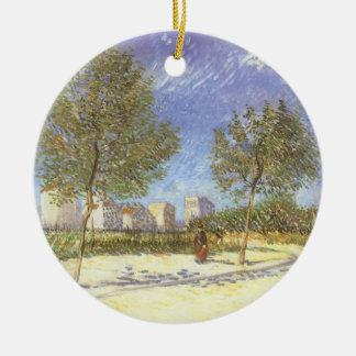Ornement Rond En Céramique Sur les périphéries de Paris par Vincent van Gogh
