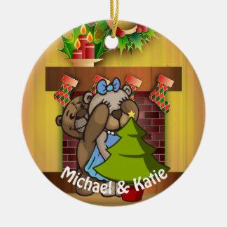 Ornement Rond En Céramique Surprise d'arbre de Noël