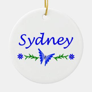 Ornement Rond En Céramique Sydney (papillon bleu)