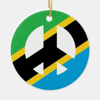 Ornement Rond En Céramique Symbole de paix tanzanien