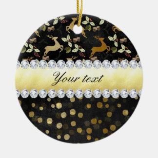 Ornement Rond En Céramique Tableau de diamants de confettis de cerfs communs