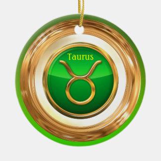 Ornement Rond En Céramique Taureau - le signe d'horoscope de Taureau