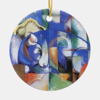 Ornement Rond En Céramique Taureau menteur par Franz Marc, art vintage de