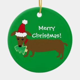 Ornement Rond En Céramique Teckel de Joyeux Noël