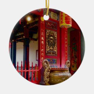 Ornement Rond En Céramique Temple dans Yilan, Taïwan