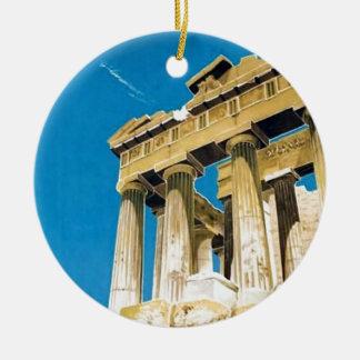 Ornement Rond En Céramique Temple vintage de parthenon d'Athènes Grèce de
