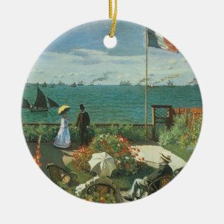 Ornement Rond En Céramique Terrasse au bord de la mer par Claude Monet