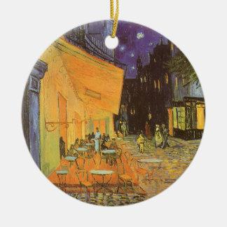 Ornement Rond En Céramique Terrasse de café la nuit par Vincent van Gogh