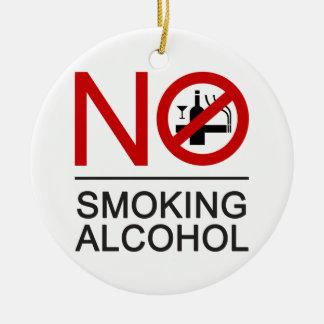 Ornement Rond En Céramique ⚠ thaïlandais de signe de ⚠ non-fumeurs d'alcool