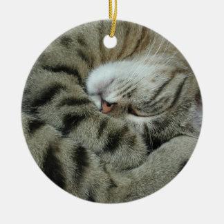Ornement Rond En Céramique Tigre-Chat de sommeil