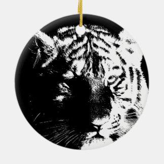 Ornement Rond En Céramique Tigre noir et blanc d'art de bruit