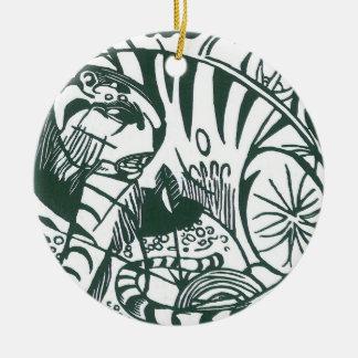 Ornement Rond En Céramique Tigre par Franz Marc, beaux-arts noirs et blancs