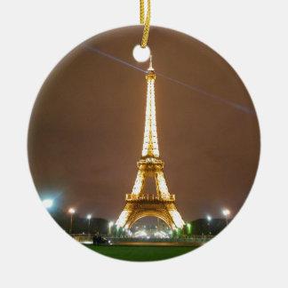 Ornement Rond En Céramique Tour Eiffel Paris France - soirée de printemps