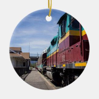 Ornement Rond En Céramique Train de Noël