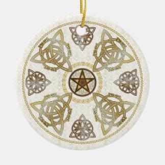 Ornement Rond En Céramique Tri-Quatras d'or et celtiques noeuds de cuivre et
