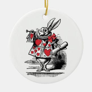 Ornement Rond En Céramique Trompettiste blanc Alice de cour de lapin au pays