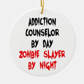 Ornement Rond En Céramique Tueur de zombi de conseiller de dépendance