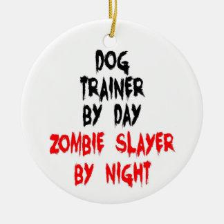 Ornement Rond En Céramique Tueur de zombi d'entraîneur de chien