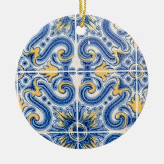 Ornement Rond En Céramique Tuile bleue et jaune, Portugal