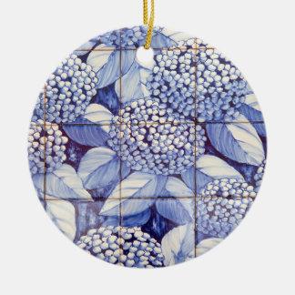 Ornement Rond En Céramique Tuiles florales