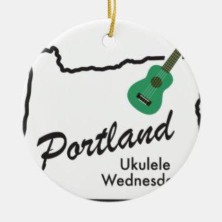 Ornement Rond En Céramique Ukulélé mercredi de Portland