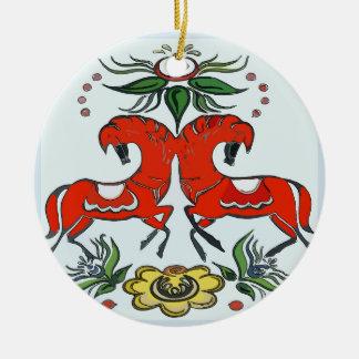 Ornement Rond En Céramique Vacances heureuses, chevaux de la Scandinavie