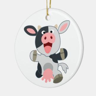 Ornement Rond En Céramique Vache gaie mignonne à bande dessinée