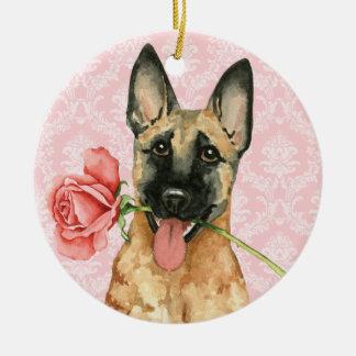 Ornement Rond En Céramique Valentine Malinois rose