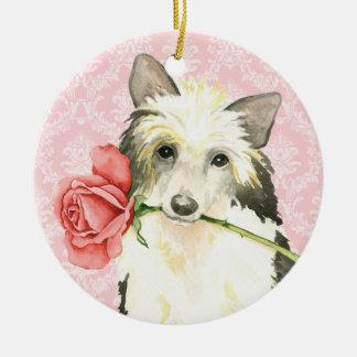 Ornement Rond En Céramique Valentine Powderpuff rose