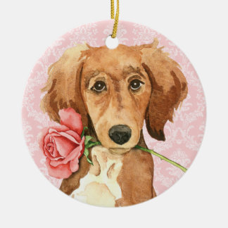 Ornement Rond En Céramique Valentine Saluki rose