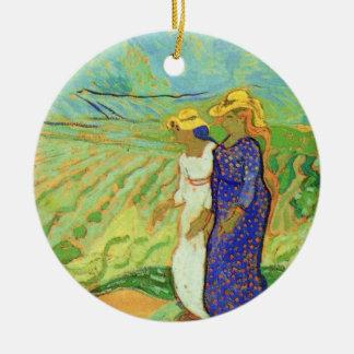 Ornement Rond En Céramique Van Gogh, 2 champs de croisement de femmes, amis