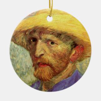 Ornement Rond En Céramique Van Gogh ; Autoportrait avec le chapeau de paille