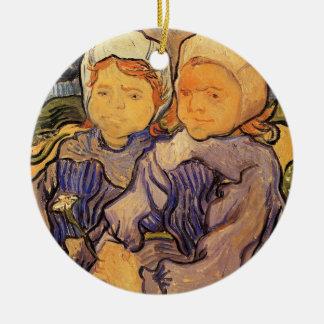 Ornement Rond En Céramique Van Gogh, deux enfants, art vintage