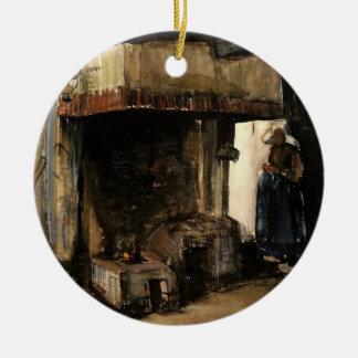 Ornement Rond En Céramique Van Gogh ; Femme par un foyer, impressionisme