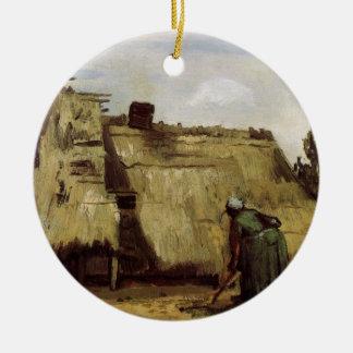 Ornement Rond En Céramique Van Gogh, femme rurale creusant, avant de cottage