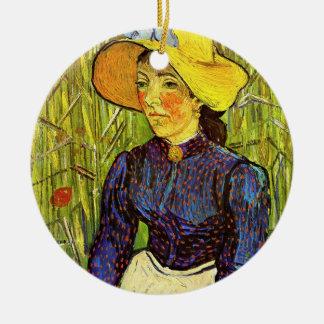 Ornement Rond En Céramique Van Gogh, jeune femme rurale avec le chapeau de