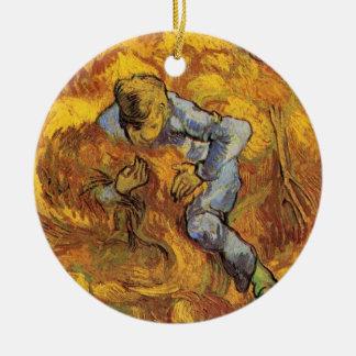 Ornement Rond En Céramique Van Gogh, le classeur de gerbe, impressionisme
