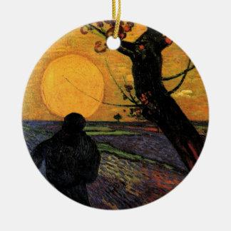 Ornement Rond En Céramique Van Gogh ; Le semeur, agriculteur rural vintage