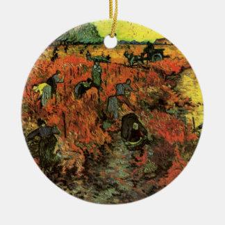 Ornement Rond En Céramique Van Gogh, le vignoble rouge, impressionisme