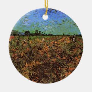 Ornement Rond En Céramique Van Gogh le vignoble vert, beaux-arts vintages