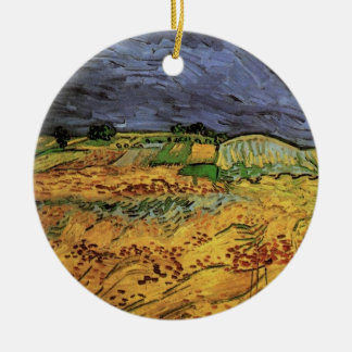 Ornement Rond En Céramique Van Gogh les champs, beaux-arts vintages de