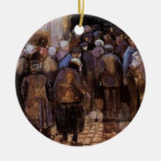 Ornement Rond En Céramique Van Gogh les pauvres et l'argent, impressionisme