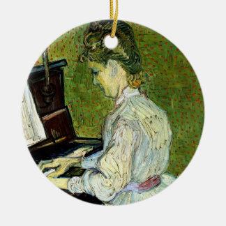 Ornement Rond En Céramique Van Gogh ; Marguerite des prés Gachet au piano,