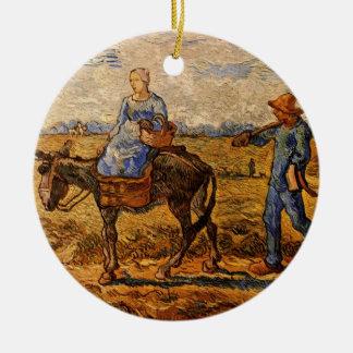 Ornement Rond En Céramique Van Gogh ; Matin : Couples ruraux allant