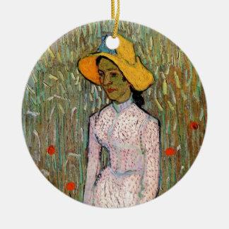Ornement Rond En Céramique Van Gogh, position de jeune fille ; Arrière - plan