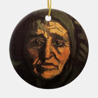 Ornement Rond En Céramique Van Gogh ; Tête de femme rurale, casquette