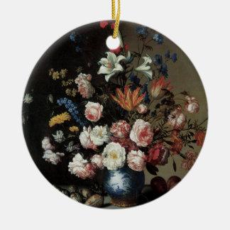Ornement Rond En Céramique Vase de fleurs par une fenêtre, Balthasar van der