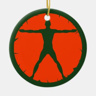 Ornement Rond En Céramique Vert standard et orange de forme physique de folie